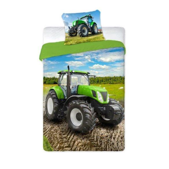 TRAKTOROS ÁGYNEMŰHUZAT 2 RÉSZES PAMUT 140 X 200 + 70 X 90 CM, zöld traktor